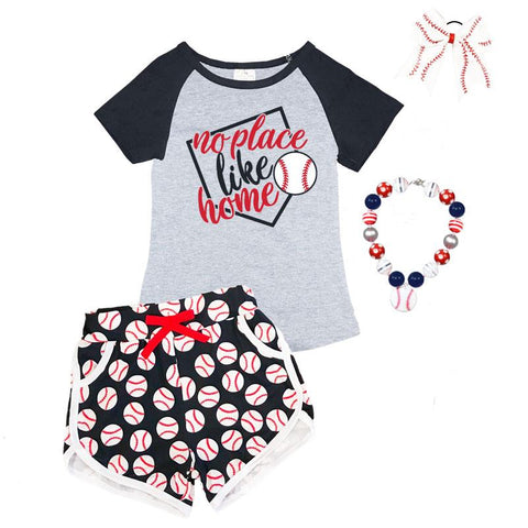No Place Like Home Baseball Outfit Raglan Top And Shorts