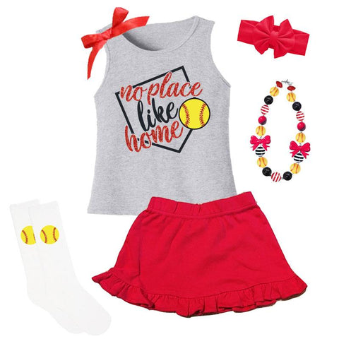 No Place Like Home Softball Sparkle Tank Top And Skirt