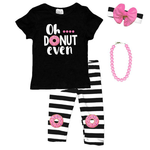 Oh Donut Even Outfit Pink Black Stripe Top And Pants