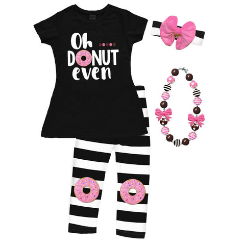 Oh Donut Even Pink Black Stripe Top And Capri