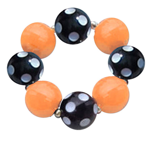 Orange Black Polka Bracelet