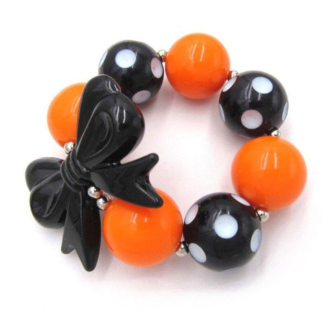 Orange Black Polka Dot Bracelet Bow Chunky Gumball