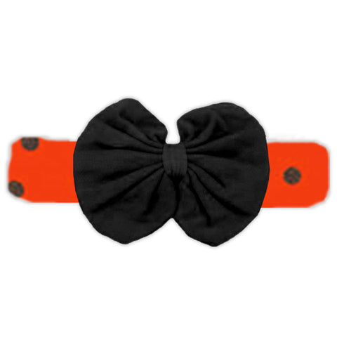 Orange Black Polka Messy Bow Headband