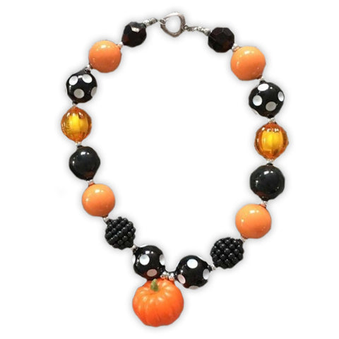 Orange Black Polka Pumpkin Necklace
