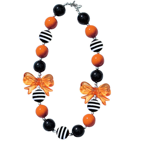 Orange Black Stripe Bow Necklace
