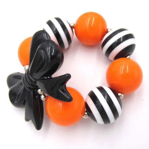 Orange Black Stripe Bracelet Bow Chunky Gumball