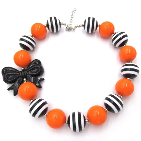Orange Black Stripe Necklace Bow Chunky Gumball