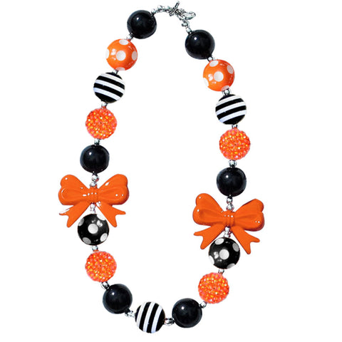 Orange Black Stripe Sparkle Bow Necklace
