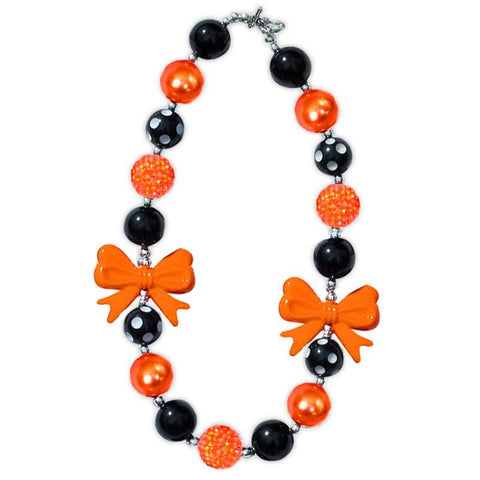 Orange Bow Necklace Black Polka Dot Chunky Gumball