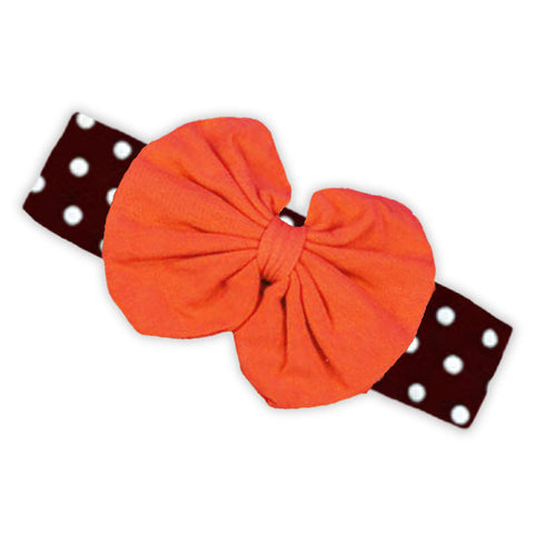 Orange Brown Polka Messy Bow Headband