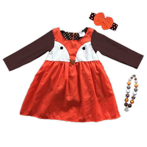 Orange Brown White Fox Dress