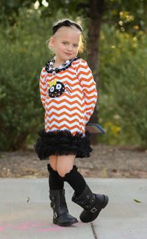 Orange Chevron Spider Ruffle Dress