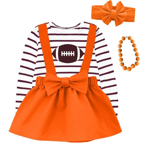 Orange Football Jumper And Brown Stripe Top
