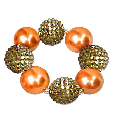 Orange Gold Sparkle Bracelet