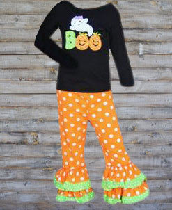 Orange Green Polka Boo Pant Set