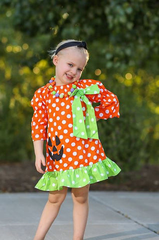 Orange Lime Polka Pumpkin Dress