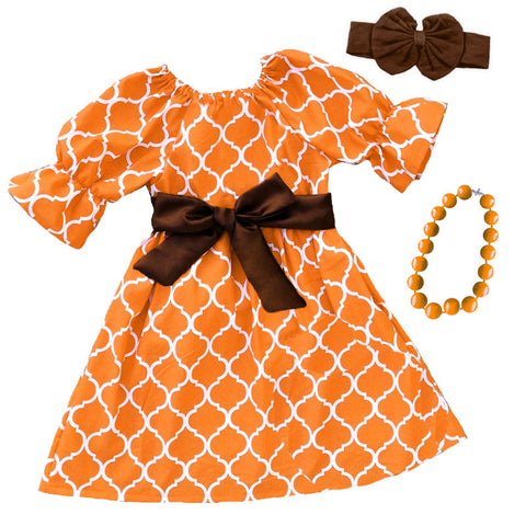 Orange Moroccan Brown Bow Dress