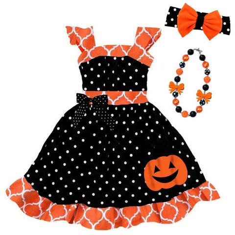 Orange Moroccan Pumpkin Dress Black Polka Dot Bow