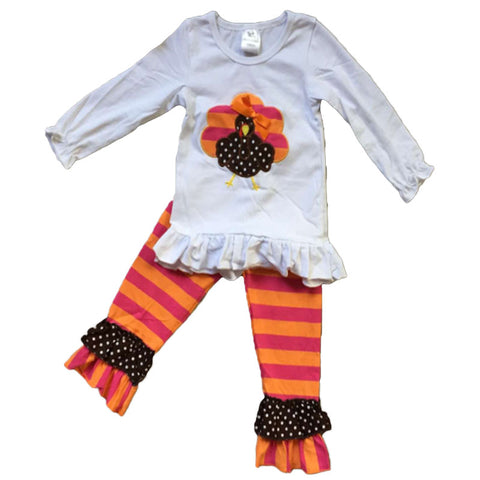 Orange Pink Stripe Turkey Pant Set