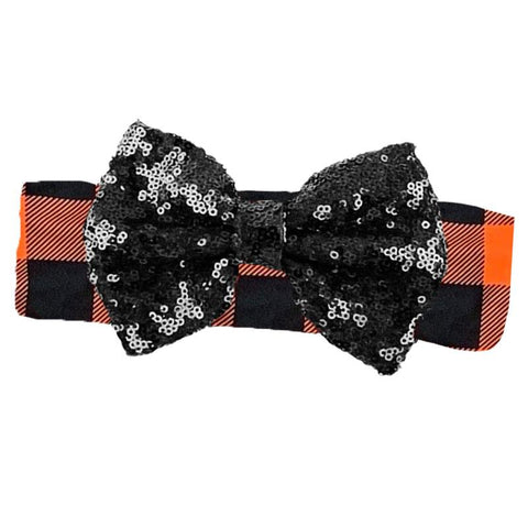 Orange Plaid Black Sequin Bow Headband