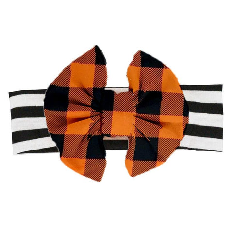 Orange Plaid Black Stripe Messy Bow Headband