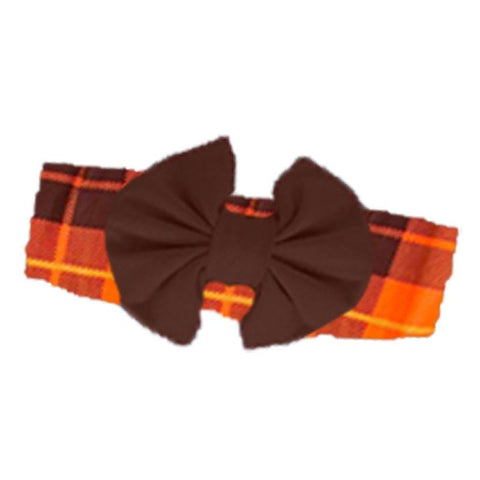 Orange Plaid Headband Brown Messy Fall