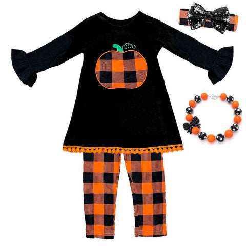 Orange Plaid Pumpkin Outfit Black Pom Top And Pants
