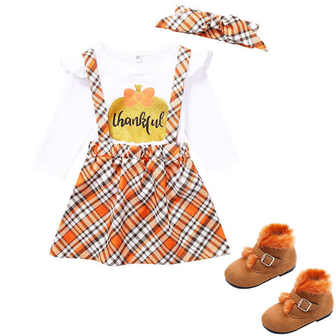 Orange Plaid Thankful Outfit Gold Pumpkin Top Jumper And Headband
