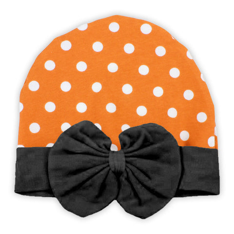 Orange Polka Black Bow Beenie Hat