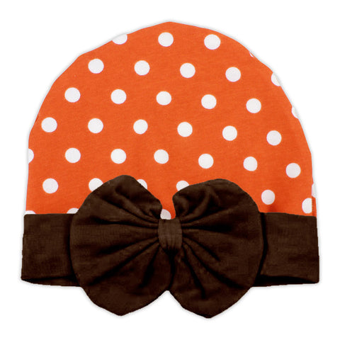 Orange Polka Brown Bow Beenie Hat