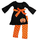 Orange Polka Dot Jack O Lantern Outfit Bow Top And Pants