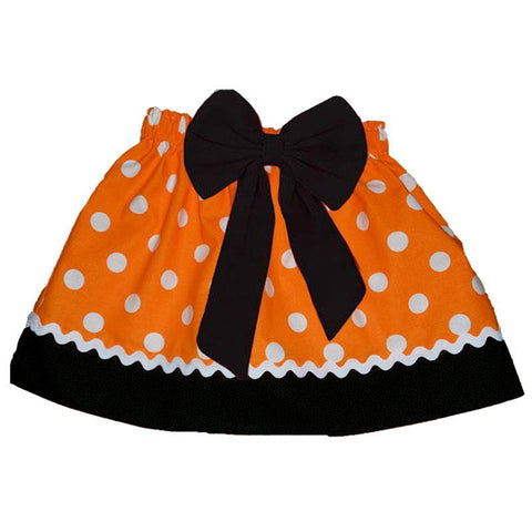 Orange Polka Dot Skirt Ric Rack Black Bow