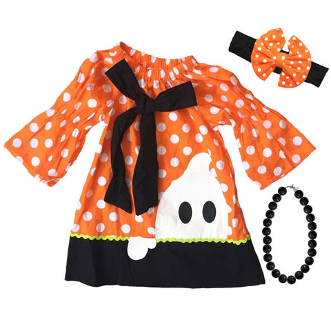 Orange Polka Ghost Ric Rack Dress