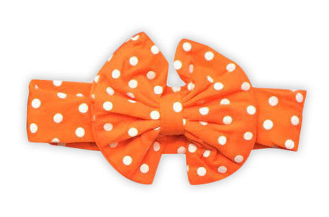 Orange Polka Messy Bow Headband