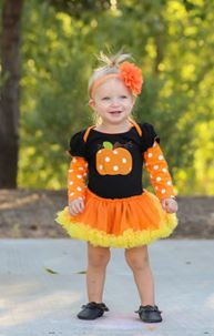 Orange Polka Pumpkin Onesie Tutu