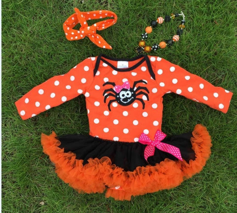 Orange Polka Spider Onesie Tutu