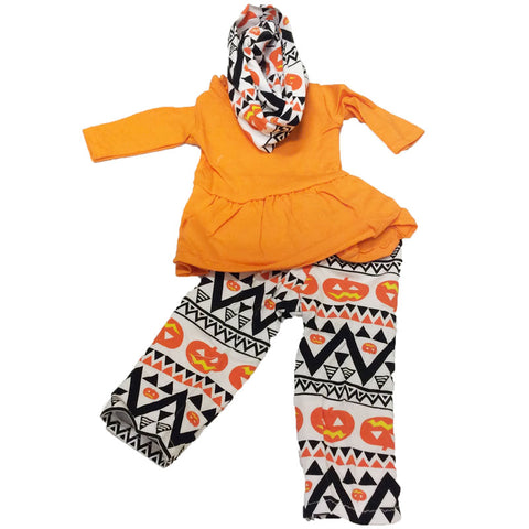 Orange Pumpkin Aztec Outfit Scarf Girls Top And Pants Matching Doll