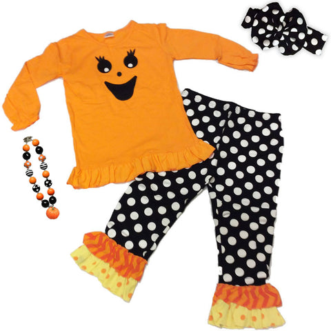 Orange Pumpkin Face Outfit Black Polka Ruffle Girls Top And Pants