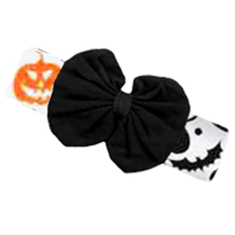 Orange Pumpkin Swirl Black Messy Bow Headband