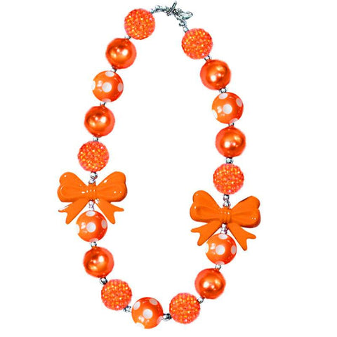 Orange Sparkle Polka Bow Necklace