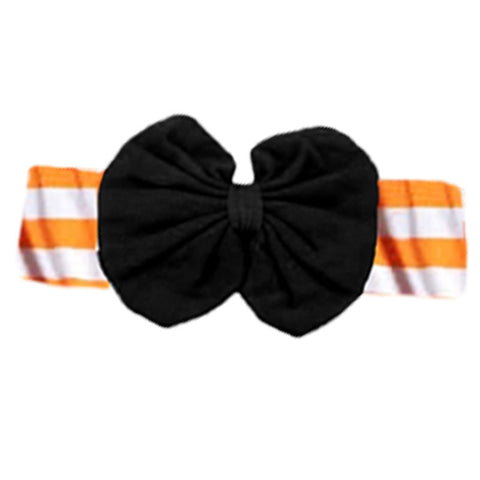 Orange Stripe Black Messy Bow Headband