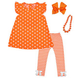 Orange Stripe Outfit Polka Dot Top And Pants