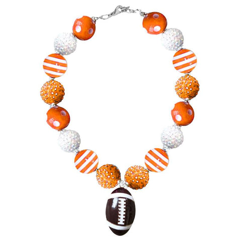 Orange White Football Necklace Polka Dot Stripe Chunky Gumball
