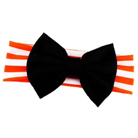 Orange Stripe Headband Black Messy Bow