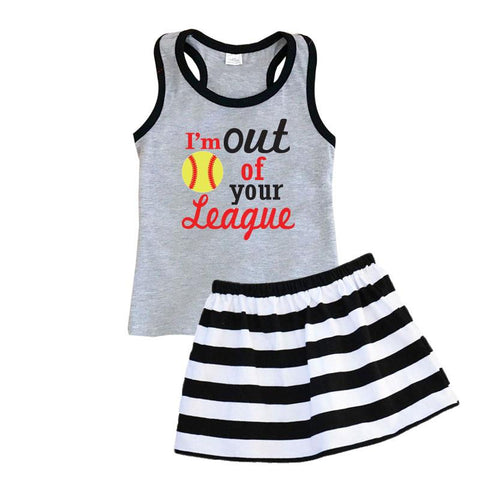 Out Of Your League Softball Outfit Black Stripe Tank Top And Skirt