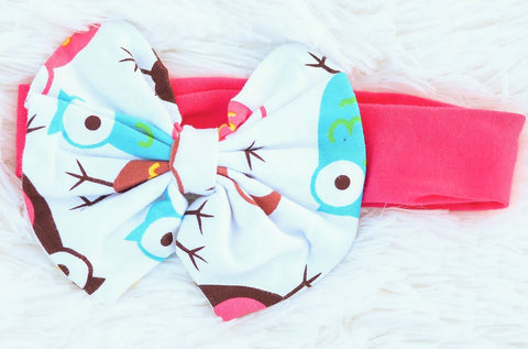 Owl Hot Pink Messy Bow Headband
