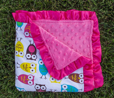 Owl - Hot Pink Minky Blanket