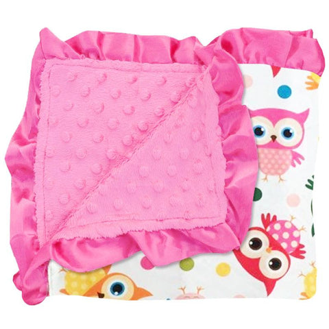 Owl Rainbow Polka Dot Hot Pink Minky Blanket