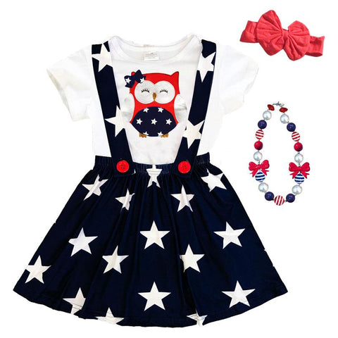 Owl Stars Shirt Red White Blue