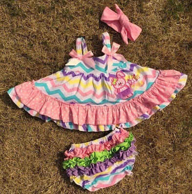 Pastel Chevron Bunny Two Piece Dress